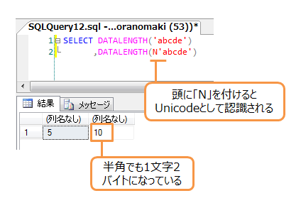 Unicodeは1文字2バイト