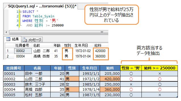 性別が男で給料が25万円以上のデータを抽出