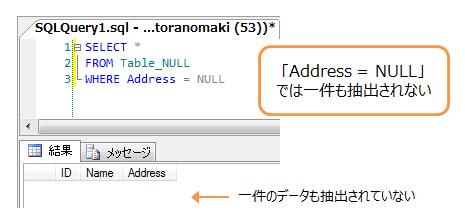 「Address = NULL」では一件も抽出されない